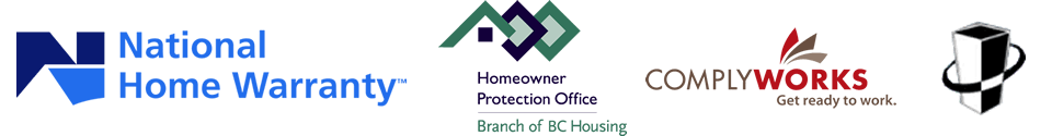 Olympic Projects member of National Home Warranty, ComplyWorks, BC building envelope council, Homeowner protection Office